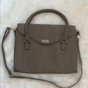 MERONA: Grey Snake Skin Messenger Laptop Bag